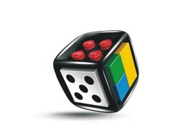 A picture of a LEGO die; a standard 5-pip on one side, multicolored studless plates on another; and a third empty side are visible.